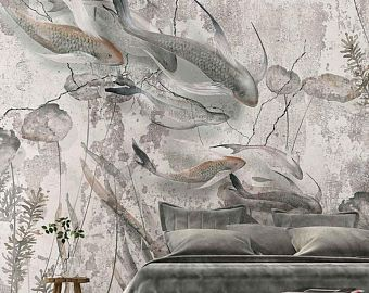Mural Wallpaper, Washable, Wallpaper For Bathroom, Removable Wallpaper,  Watercolor Mere   Textured