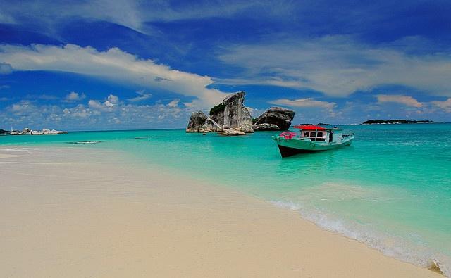 Pig island belitung island Indonesia.Awesome beach with calm sea