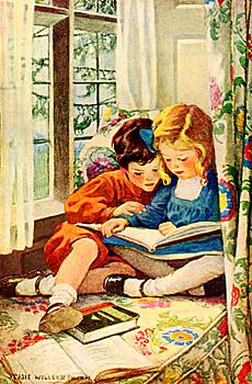 Vintage, Jessie Wilcox Smith, children reading books . . . in a window seat! Can it get any better? Okay, yes the repro could, but hey.