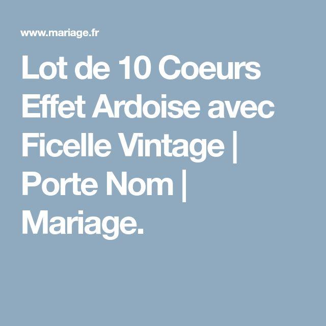 Lot de 10 Coeurs Effet Ardoise avec Ficelle Vintage | Porte Nom | Mariage.