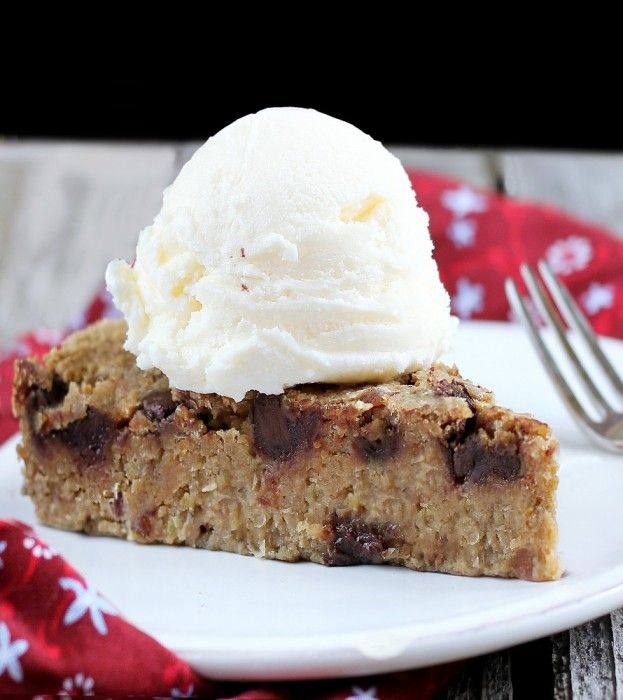 Chocolate Chip Cookie Pie - no sugar / no flour / vegan / gf - People rave about the recipe. Everyone loves this pie! http://chocolatecoveredkatie.com/2012/05/31/chocolate-chip-cookie-pie-without-sugar/ @choccoveredkt