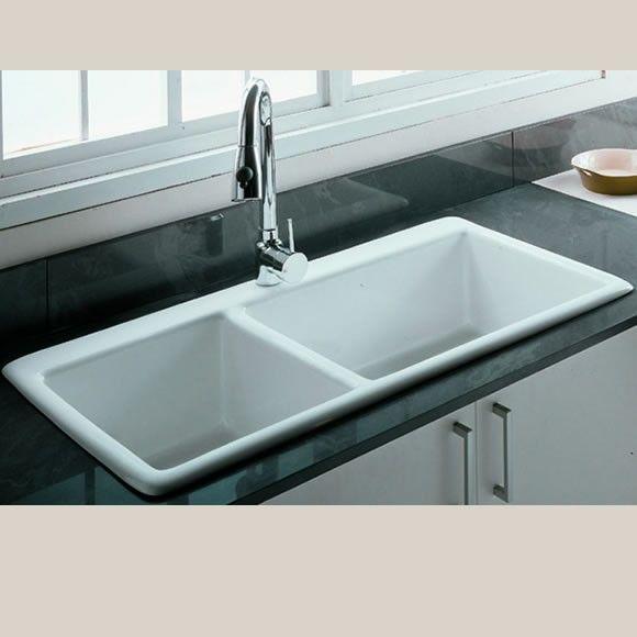 Gourmet Large Double Bowl Ceramic Kitchen Sink Kitchen