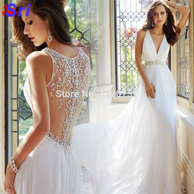 Find More Dresses Information about Deep V Neck Sexy Trailing Chiffon Bride Wedding Dress Hollow Out Back Design Wedding Beach Dress Vestido De Novia Sirena ,High Quality dress lining,China dress for less prom dresses Suppliers, Cheap dresses for little girls from Sritrade International Co., Ltd on Aliexpress.com