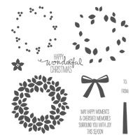 Wondrous Wreath Photopolymer Stamp Set from Stampin' Up!  Item 135047, $25.95.  Also available in Spanish and French.  Coordinates with Wonderful Wreath Framelits (item 135851, $24.95).