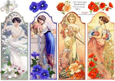Art Nouveua Ladies Bookmarks Set 2 on Craftsuprint designed by June Young - A set of 4 Bookmarks featuring Art Nouveau ladies. Each has a small floral embellishment and there is decoupage for this at the top of the sheet so you could use these for card toppers as well as for bookmarks. - Now available for download!