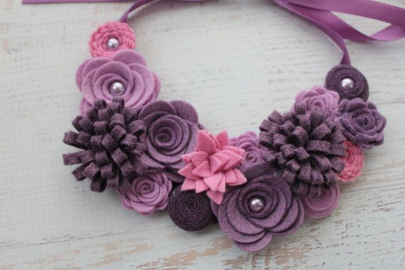 Wool Felt Flower Bib Necklace Shades of by SnuggleBugsBowtique