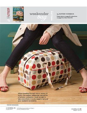Pattern: Weekender Bag -- --- -- This file contains pattern pieces only. Project instructions are in Stitch magazine's Fall 2013 issue.