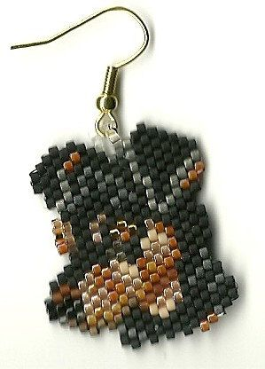 Hand beaded sweet little Mini Pinscher dog head dangle earrings
