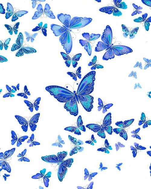 Dutchess - Jewel Winged Butterflies - White/Silver