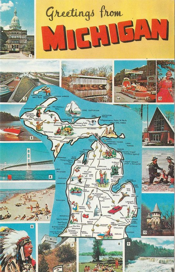 Vintage Michigan postcard with state map Greetings