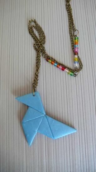 colección origami collar arcilla polimerica artesanía a mano