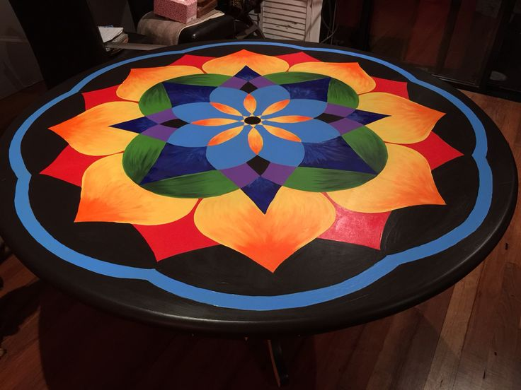 Transformed our boring dining room table into something very interesting.