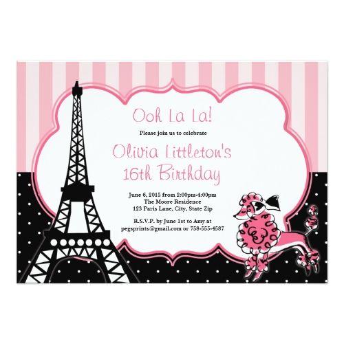 120 besten Paris Birthday Party Invitations Bilder auf Pinterest