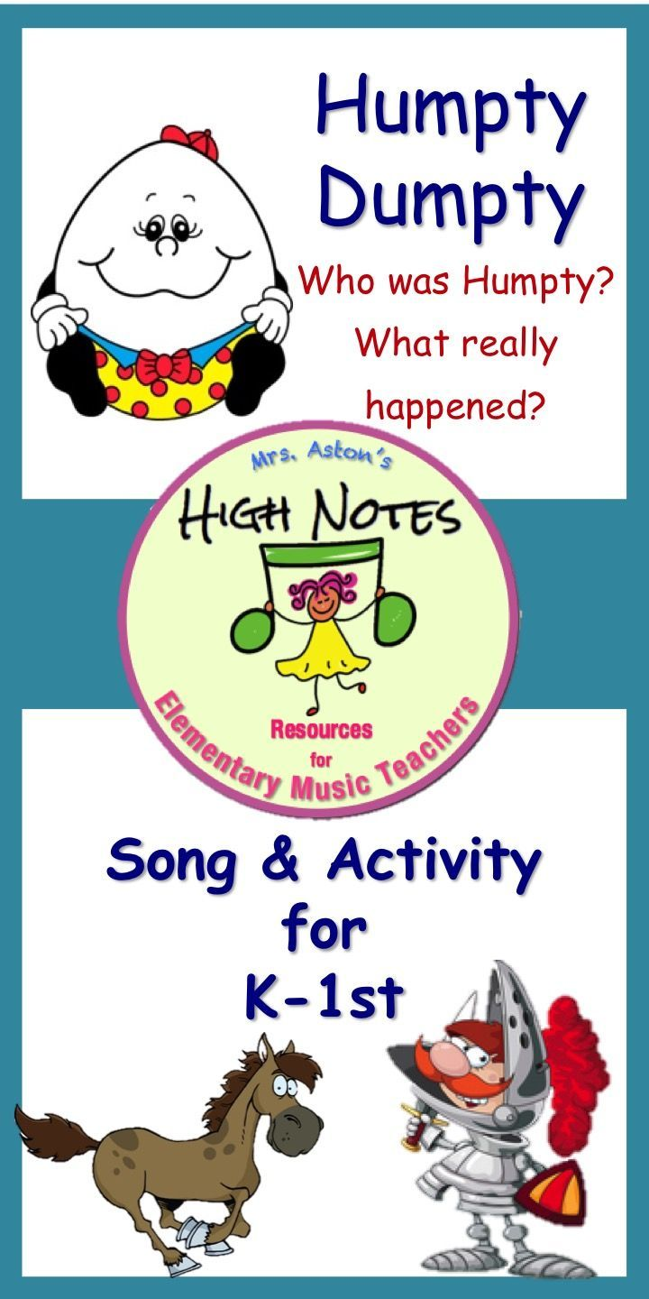 Use with K-1st to reinforce the higher order of thinking skills (HOTS), analyze,  and respond to some very challenging questions about Humpty Dumpty found in Bloom's Taxonomy of Learning Domains. A poster of these skills has been included for you to post. #elementarymusic #janisaston #aston