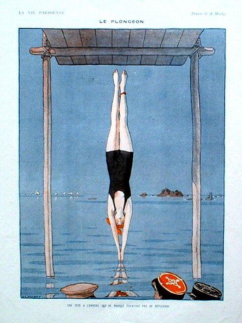 """André Edouard Marty 1918 """"Le plongeon"""" bathing beauty, La Vie Parisienne"""