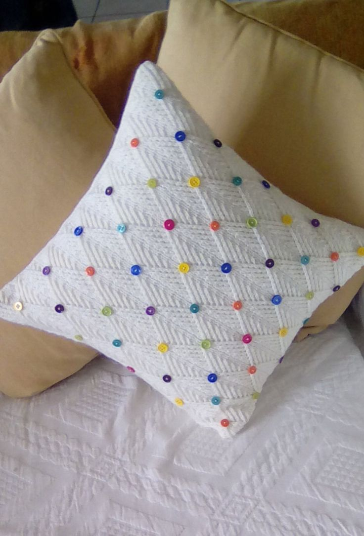 Cushion handknitted in a cream wool and decorated with multicoloured buttons,knitted settee cushion,delicate pattern,handmade by FRALINE by fraline on Etsy