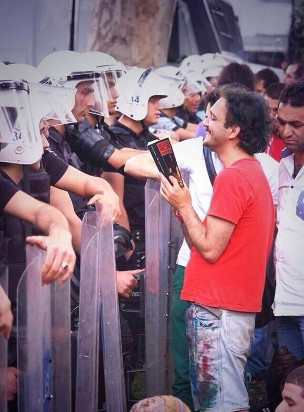 Ironic reaction of civils against the tear gas used during the Gezi park protests