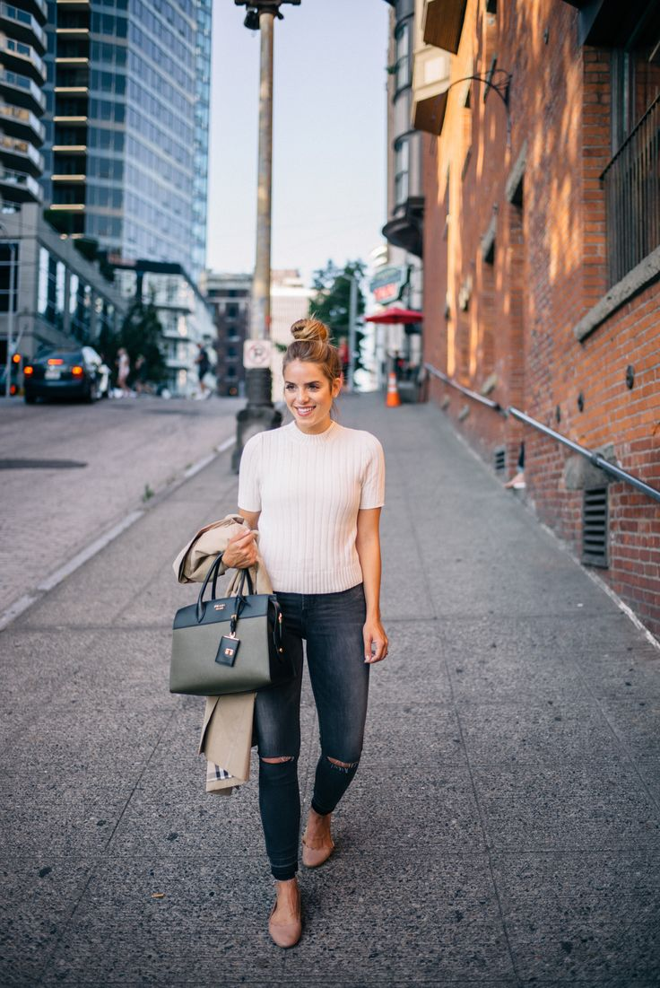 Gal Meets Glam Downtown Seattle - Express sweater & jeans c/o, Burberry trench, Chloe flats, Prada bag c/o