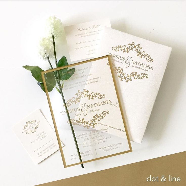 beautiful wedding invitation in acrylic material with a gold lines design by dotandlinedesigns go follow them for more stunning wedding invitatio - Amazing Wedding Invitations