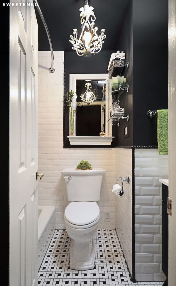 Prospect Height Bathroom with classic black and white tiles, new Toto toilet and reflective silver fixtures, both high impact and functional choices that make the new space feel finished and bright.