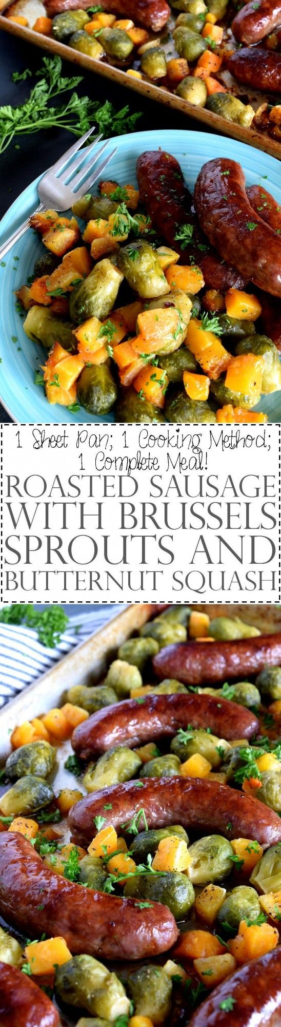 Roasted Sausage with Brussels Sprouts and Butternut Squash - One pan dinners are all the rage, especially one that combines great tasting pork sausage and veggies, like these Brussels sprouts and butternut squash. Doesn't this look delicious? All you need is 45 minutes and a few pantry staples.