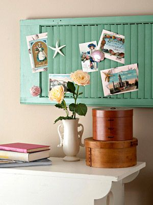 Another use for an old shutter. This would be great for an office or kids room. You could also use it in the kitchen to old recipes and coupons or bills.