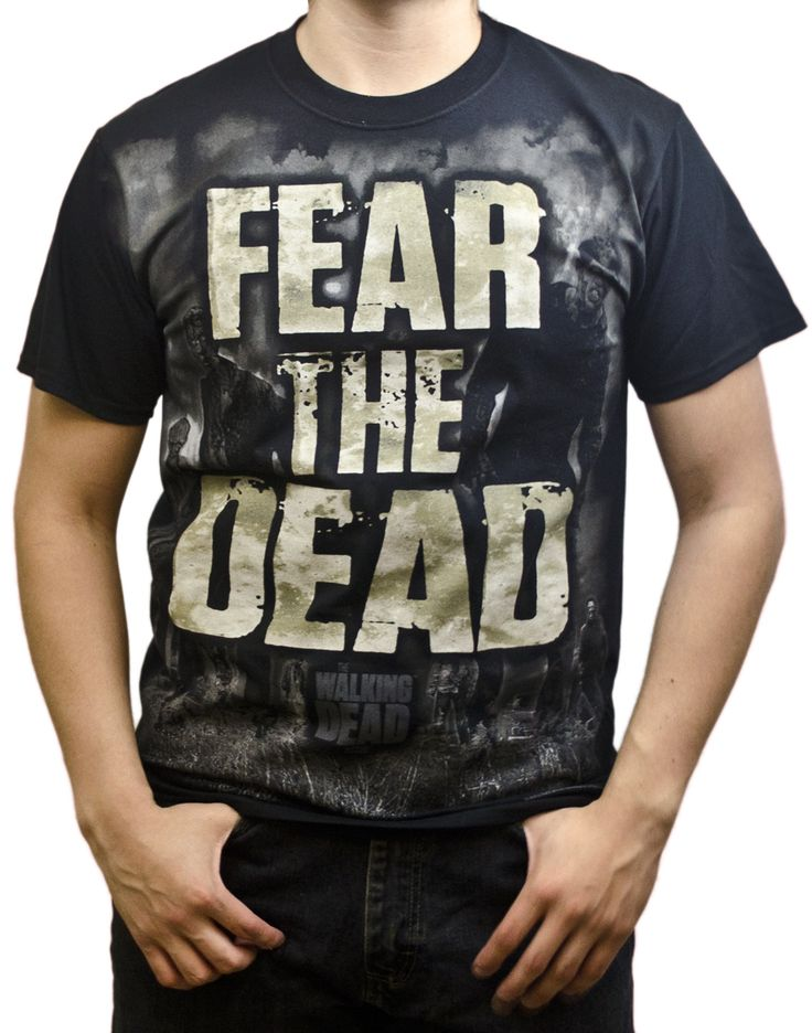 "Blue Oyster Cult was adamant about not fearing the reaper, but this Walking Dead shirt encourages otherwise. The ""Fear the Dead"" tee is made of black 100% cotton and features a gruesome depiction of the Dead stalking an aged ""FEAR THE DEAD."" ""THE WALKING DEAD"" is printed beneath the image in slate."