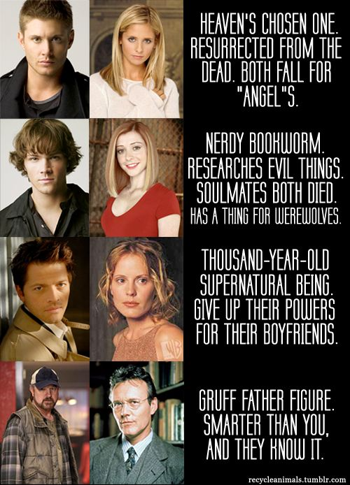 """Supernatural vs. Buffy: the similarities are too large to ignore. So accurate. Oh my God. """"Give up their powers for their boyfriends."""" Best. Ever."""