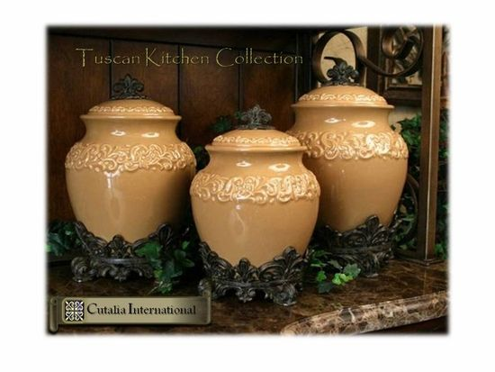 tuscan style kitchen canisters tuscan style large kitchen canisters love the shape not the color or bottom ornamentation 6057