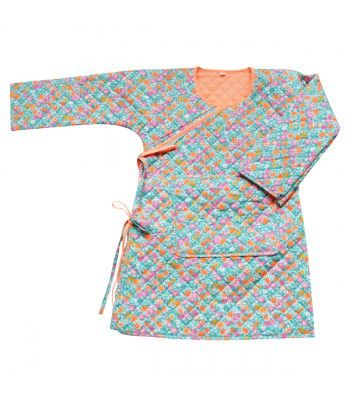 blue and orange flower quilted bathrobe