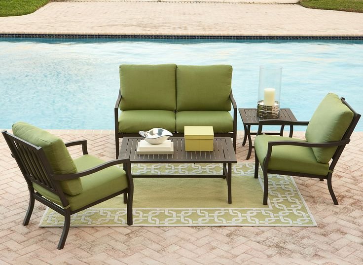 Green Patio Furniture Cushions Thick Among Black Table