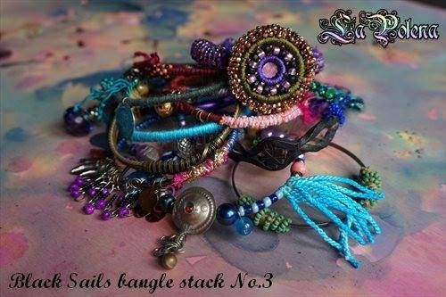 https://flic.kr/p/GszUSR | Black sails bangle stack | recycled vintaage bangles + my artisan beads, charms, coins etc.