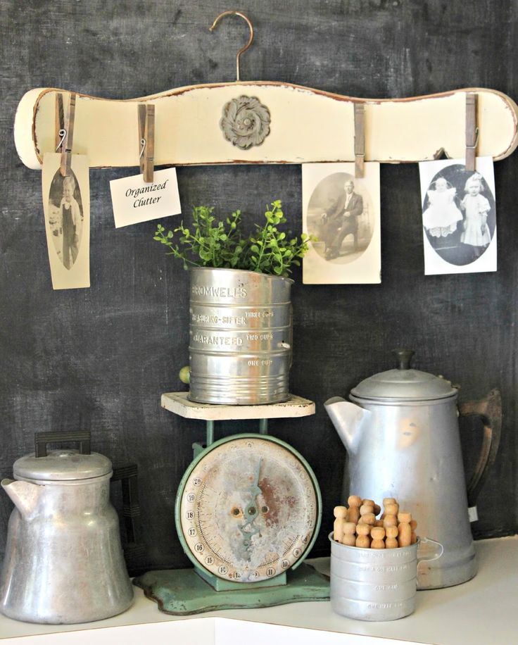 This blogger added clothespins and a hanger top to an old spindle chair back as a crafty way to display vintage family photos.