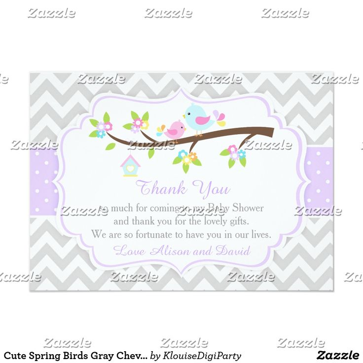 Cute Spring Birds Gray Chevron Thank You Card