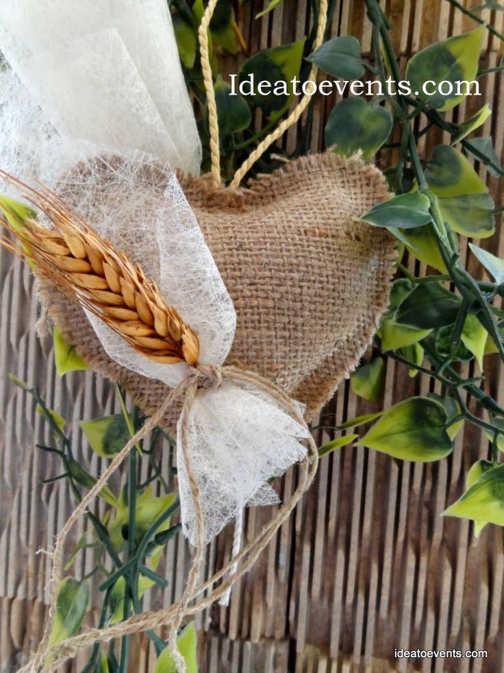 Μπομπονιέρα γάμου ρουστίκ καρδούλα λινάτσα με στάχυ!!! Rustic handmade wedding favor burlap heart with wheat deco! Code N° MG0037