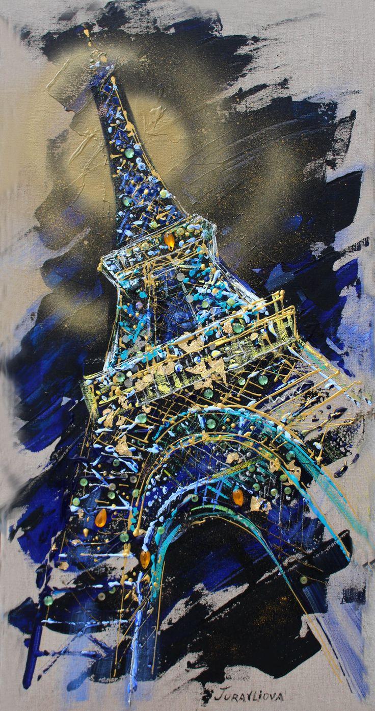 """Tableau peinture unique sur toile """"Tour Eiffel""""  d artiste-peintre et styliste parisienne Juravliova Liubov médaillé de concours un de Meilleurs"""