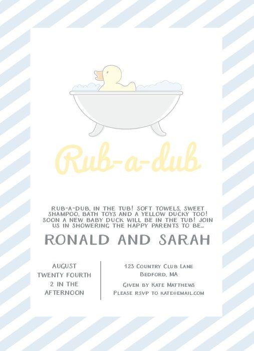 Rub a Dub Baby Shower Invitation