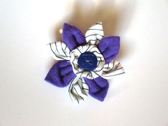 Handmade TREFOIL GUILD Purple Flower with Centre Girl Guide Button and Vintage GGC Striped Uniform Fabric