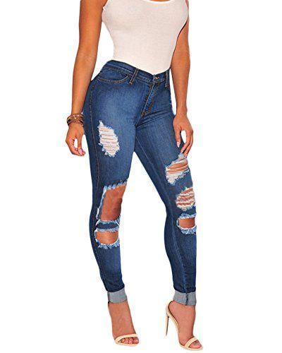 Femme Denim Pantalons Décontracté Jeans Déchiré Trous Stretchy Taille Haute  Jean Skinny L 5a795b391d72