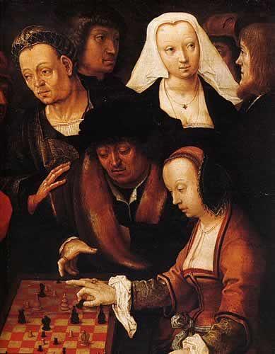 Lucas van Leyden (1494-1533), «Партия в шахматы» (фрагмент), 1508