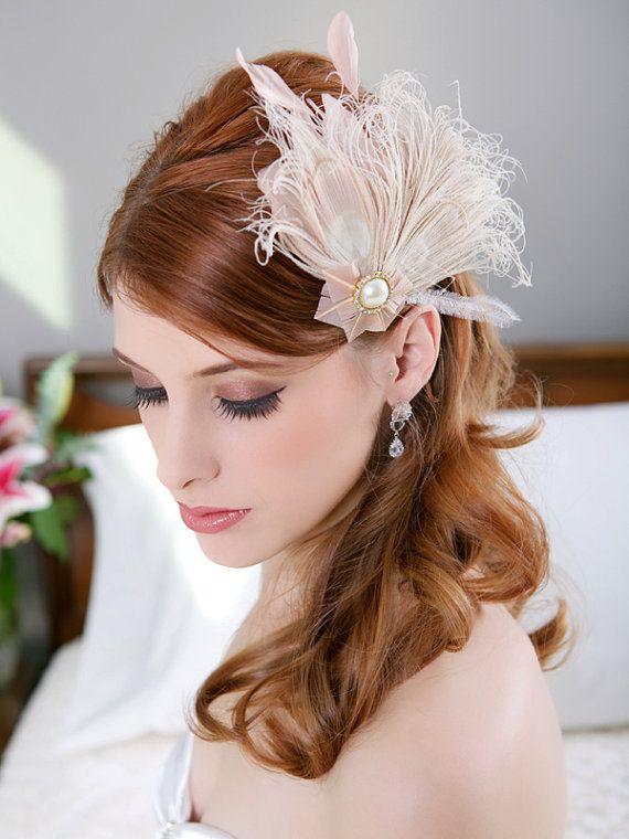 Blush Feather Bridal Hair Clip