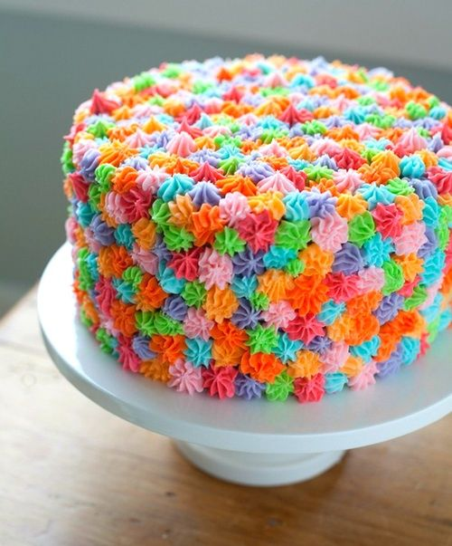Perfect cake for kids birthday party. #colorcake. Yum!