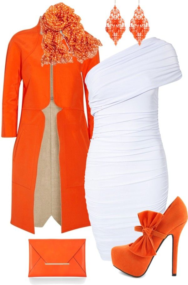 """""""Orange & White"""" by stay-at-home-mom ❤ liked on Polyvore. Forget the coat just the dress."""