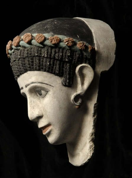 Roman Period Plaster Funerary Mask of a Woman, Egypt, Circa: 1st Century to 2nd Century AD