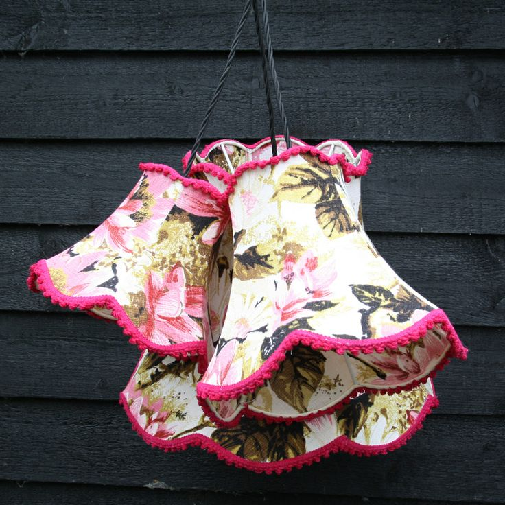 136 best vintage barkcloth lampshades images on pinterest lamp the prettiest cluster light fitting consisting of 3 hand sewn vintage barkcloth lampshades in 3 sizes of our classic double scallop bell shade aloadofball