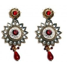 Red Bollywood Ethnic Earrings