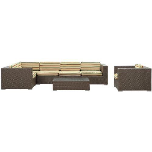 LexMod Corona Outdoor Wicker Patio 7-Piece Sectional Sofa Set in Chocolate with Multicolored Cushions by LexMod. $1418.98. All weather synthetic rattan weave and powder coated aluminum frame. Item ships in 2 - 3 weeks. Ships pre-assembled. Water and UV resistant. Machine washable cushion covers and easy to clean tempered glass top. Stages of sensitivity flow naturally with Corona's robust seating experience. Find meaning among cliffs and caverns as you become the agent of ...