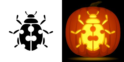 Ladybug pumpkin carving stencil. Free PDF pattern to download and print at http://pumpkinstencils.org/download/ladybug-pumpkin-stencil/