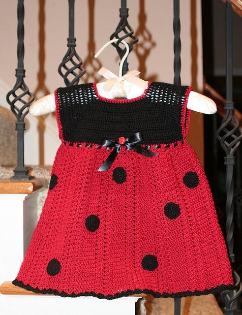 Ladybug dress - free crochet pattern