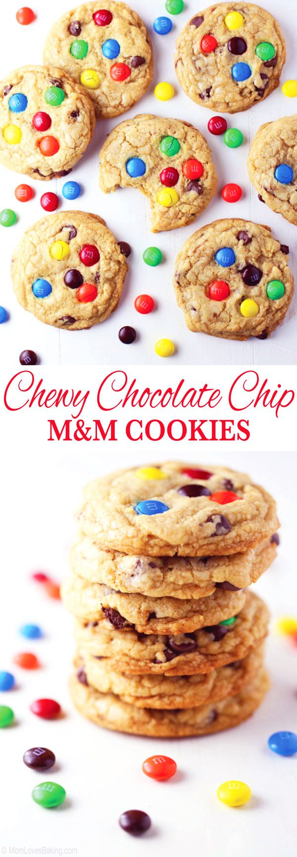 VIDEO: How to make Chewy Chocolate Chip M&M Cookies. Hands down, my family's favorite cookie! Soft, chewy, chocolatey and completely delicious! Easy to make too. See the video and get recipe on http://MomLovesBaking.com